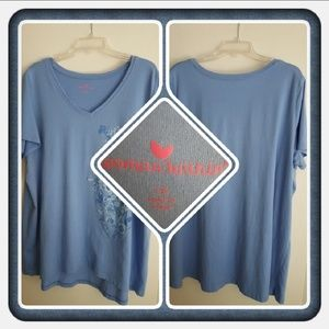 Woman's Blue V Neck Top Size 1X